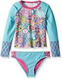 YMI Girls' Big Peace and Love Rash Guard, Multi-Colored, 14