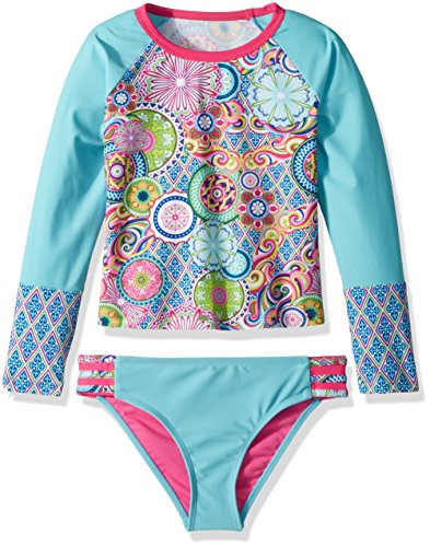YMI Big Girls' Peace and Love Rash Guard, Multi-Colored, 10/12 by YMI (Image #1)