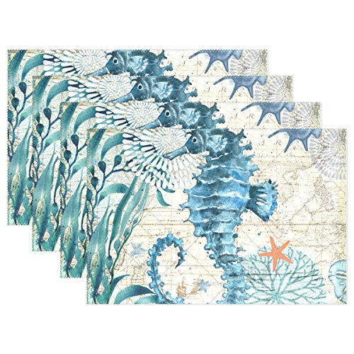 Jereee Blue Seahorse Nautical Map Set of 4 Placemats Heat-Resistant Table Mat Washable Stain Resistant Anti-Skid Polyester Place Mats for Kitchen Dining Decoration -