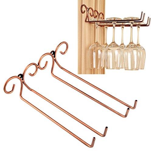 Asvert 2 Rows Wine Glasses Cup Rack Bronze Stainless Steel W