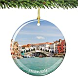 Venice Christmas Ornament, Italy Porcelain 2.75