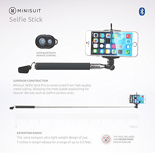 minisuit selfie stick with bluetooth remote for apple android phones. Black Bedroom Furniture Sets. Home Design Ideas