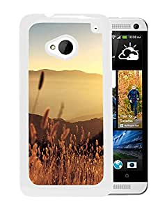New Beautiful Custom Designed Cover Case For HTC ONE M7 With Late Summer Field (2) Phone Case