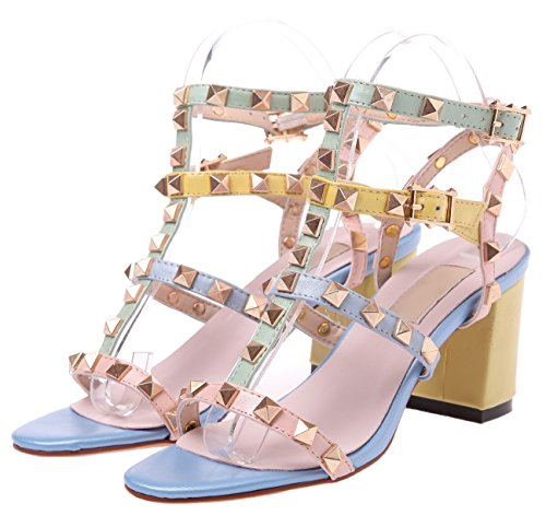 Handmade HooH Sandals High Sandals Multicolor Women Toe Multicolor Chunky Peep Studded Slingback Heel Gladiators FFwfxrq0