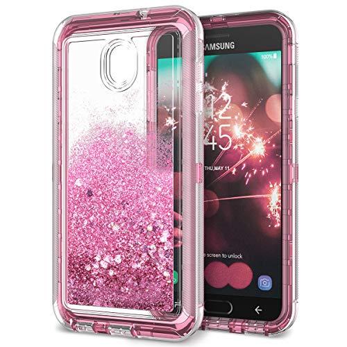 (Dexnor Compatible Samsung Galaxy J7 2018/ J7 Refine/ J7 V 2nd Gen/ J7 Star/ J7 Aero Case Glitter 3D Bling Liquid Clear 3 in 1 Shockproof Silicone + PC Protective Defender for Girls/Women - Pink)