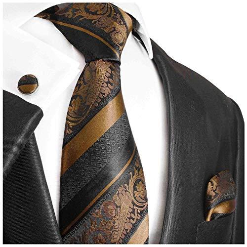 Bronze and Black Paul Malone Silk Necktie, Pocket Square and Cufflinks Set