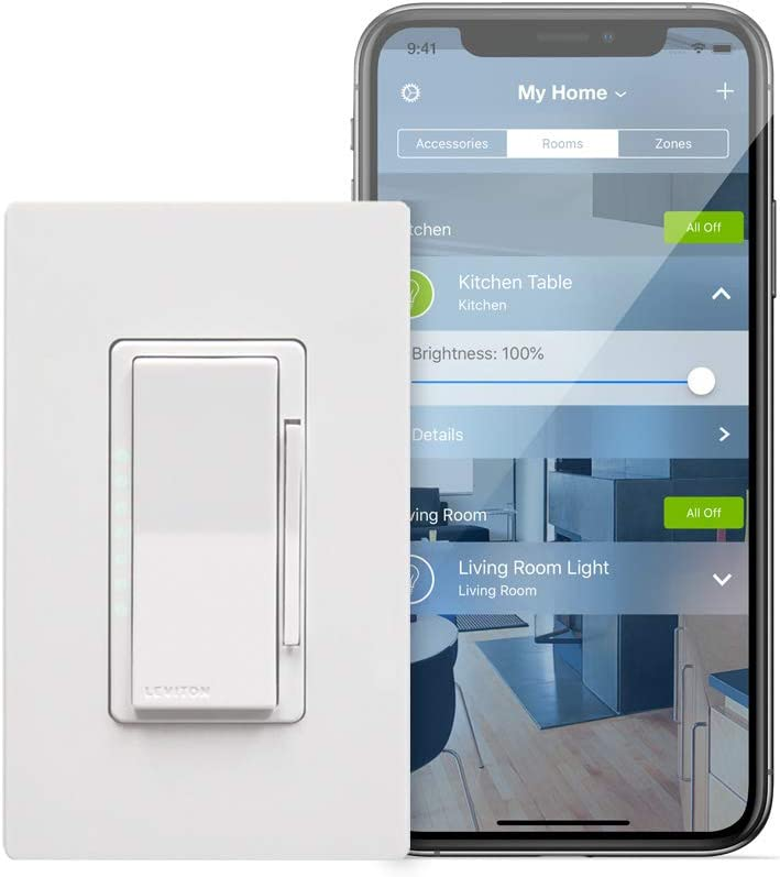 Leviton Dh6hd 1bz 600w Decora Smart With Homekit Technology Dimmer No Hub Required 1 Pack Amazon Com