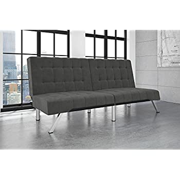 DHP Emily Futon Couch Bed, Modern Sofa Design Includes Sturdy Chrome Legs and Rich Velvet Upholstery, Grey