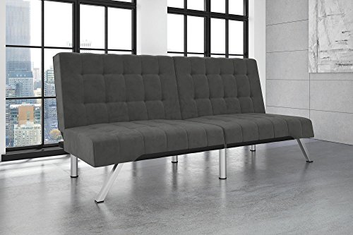 DHP Emily Futon Couch Bed, Modern Sofa Design Includes Sturdy Chrome Legs and Rich Velvet Upholstery, (Metal Modern Lounge Chairs)