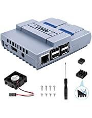 ETEPON Raspberry Pi 3 B + Case Snes Game Console Protection Screw Driver Enclosure Case with Cooling Fan and Heat Sinks for Raspberry Pi 2B 3B 3B QC24