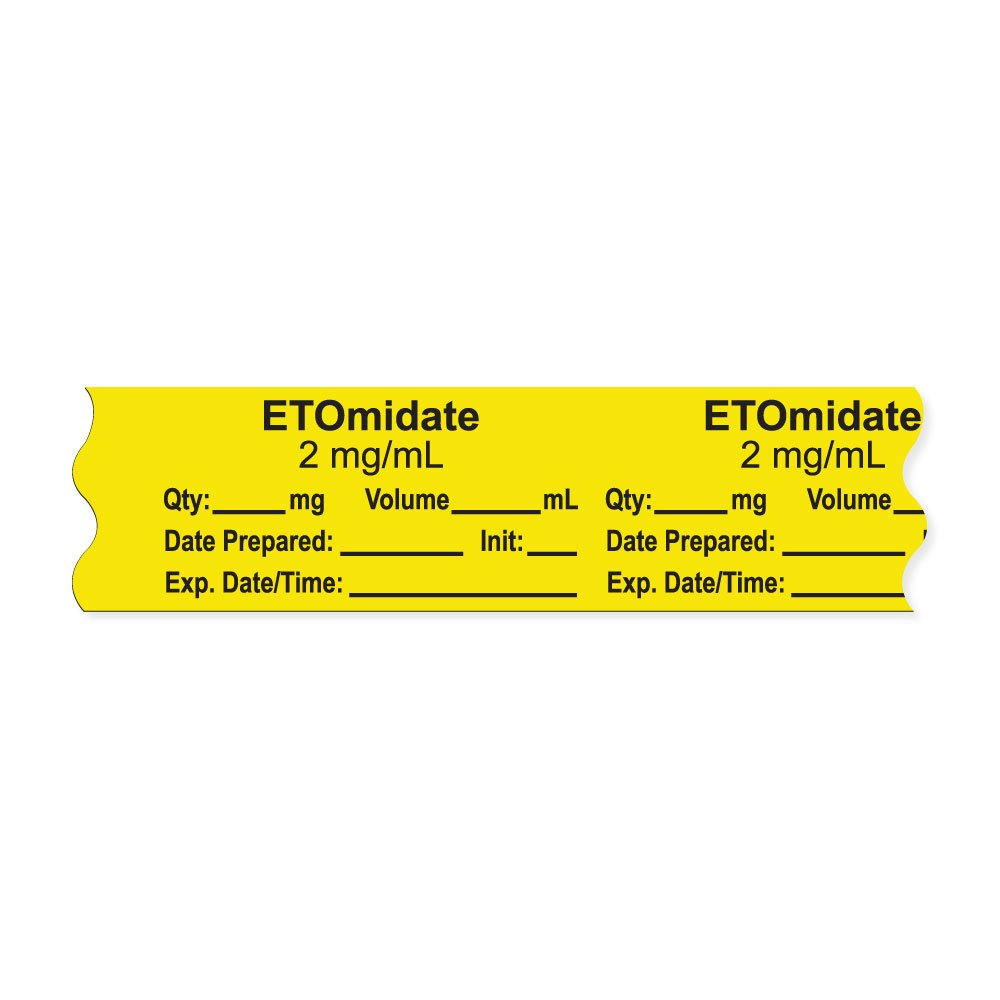 PDC Healthcare AN-2-51D2 Anesthesia Tape with Exp. Date, Time, and Initial, Removable, ''ETOmidate 2 mg/mL'', 1'' Core, 3/4'' x 500'', 333 Imprints, 500 Inches per Roll, Yellow (Pack of 500)