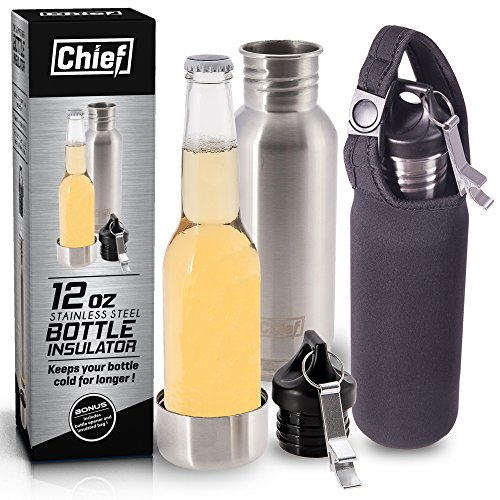 Chief Stainless Steel Beer Bottle Cooler Insulator. Buy 2 and get a bonus Chief Tumbler worth $22.88 ! Includes Bonus Steel Bottle Opener + Insulated Bag + E-Book + Gift Box ! (Bottle Holder Bag Insert compare prices)