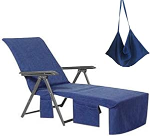 VOCOOL Lounge Chair Cover Microfiber Beach Towel Swimming Pool Lounge Chair Cover with Pockets for Holidays Sunbathing Quick Drying Terry Towels Four Color Choices (Dark Blue)