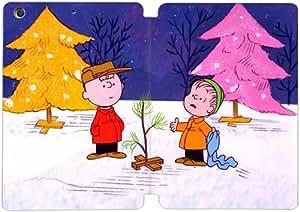 Cubierta de cuero y caja de la PC funda / soporte para funda de Apple iPad Mini 4 funda Con Magnetic reposo automático Función de despertador DIY por Charlie Brown Christmas B3H8Xc2T0If