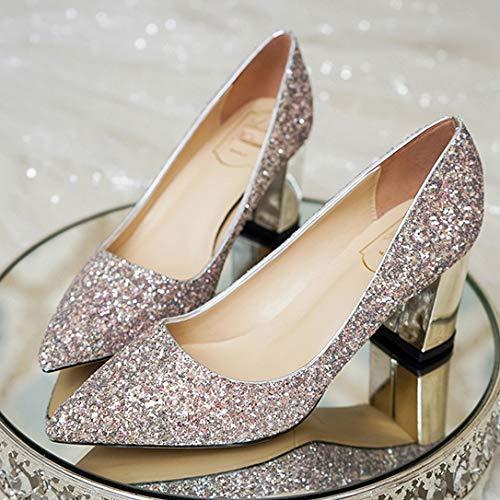 Show Dinner Block Shoes Volle Kleidern Show Frauen Pailletten MSM4 Court Golden High 444 Heels mit Heel 4qxpF8v