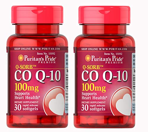 Puritan's Pride Q-Sorb Co Q-10 100 mg-30 Rapid Release Softgels - 2 Pack