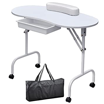 Manicure Table For Sale >> Yaheetech 37 Inch Portable Foldable 1 Drawer Manicure Table Nail Technician Desk Workstation