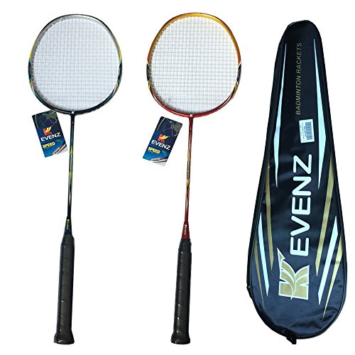 2 Pack Kevenz Badminton Racket , 2 Carbon Fiber Shaft Racquets, Fabric Carrying Bag All Included Red and Black