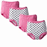 Gerber Toddler Girls' 4 Pack Training Pants, Black Polka Dot, 2T