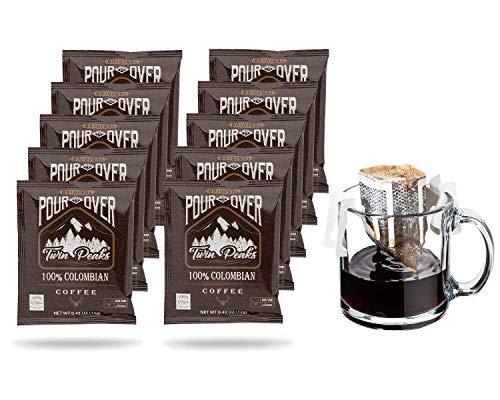 Twin Peaks Premium 100% All Natural Single-Serve Pour Over Colombian Arabica Coffee, Non GMO, 10 Pouches