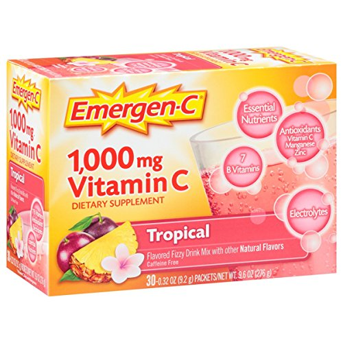 - Emergen-C (30 Count, Tropical Flavor, 1 Month Supply) Dietary Supplement Fizzy Drink Mix with 1000mg Vitamin C, 0.32 Ounce Powder Packets, Caffeine Free