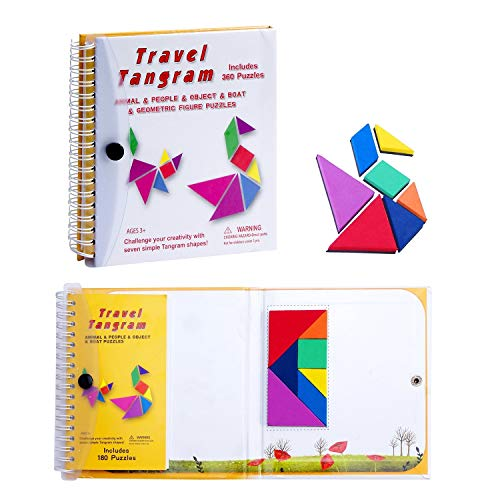 Funny Magnetic Puzzles For Kids, Building Blocks Magnet Tangrams Board Games For Travel, Early Educational Childrens Toy Colorful Shapes IQ Book, Montessori Puzzle Fidget Toys