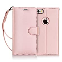 iPhone SE Case, iPhone 5S Case, iPhone 5 Case, FYY [Rose Gold] Premium PU Leather Wallet Case Protective Cover for Apple iPhone SE/5S/5 Rose Gold
