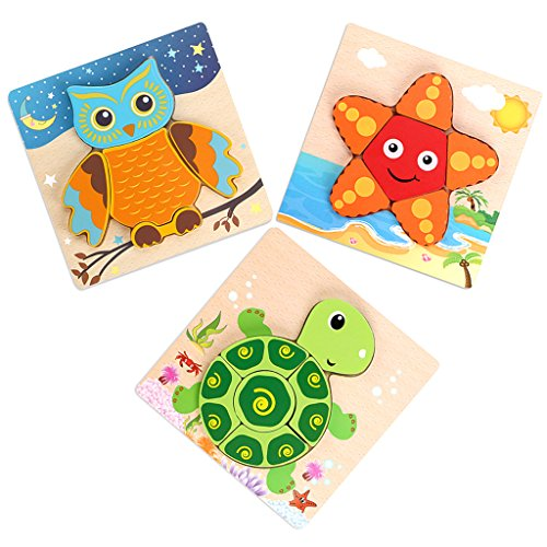 Sumnacon Jigsaw Puzzles Toys For Toddlers, 3D Wooden Fancy Education Learning Intelligence Toys Grown Up Puzzles For Kids Children, 3 Pack Animals of Tortoise,Owl,Starfish