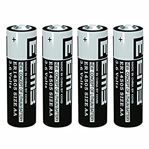 Professional Lithium Batteries AA, 3.6 Volts - ER14505 (2400 mAh, not rechargeable, LiSOCl2) - No Leaks- (4 Pack) - EEMB