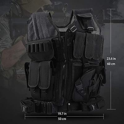 Sushiyi Adjustable Airsoft Tactical Molle Vest Lightweight Multi-Function Assault Vest Black Outdoor Hunting Combat Vest
