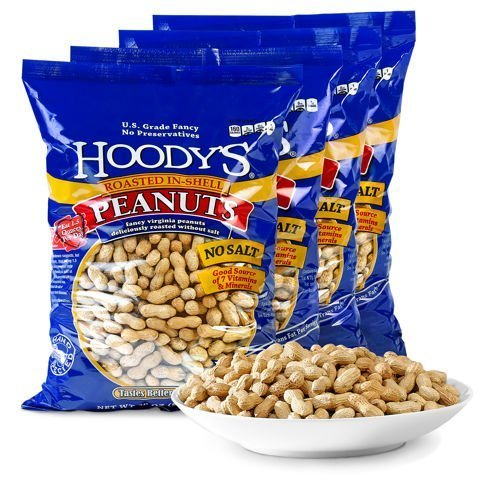 Hoody's In-Shell Peanuts Roasted Unsalted 4-pack by MegaDeal