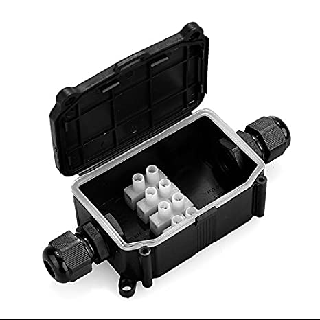 Junction Box Outdoor Waterproof 2/3 Way IP66/ IP67 External Electric Cable Wire Connector Underwater Black (2 Way Cable Box) PaulStore®