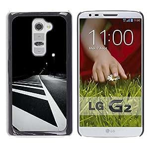 For LG G2 / D800 / D802 / D802TA / D803 / VS980 / LS980 Case , Lines White Black Minimalist Night - Diseño Patrón Teléfono Caso Cubierta Case Bumper Duro Protección Case Cover Funda