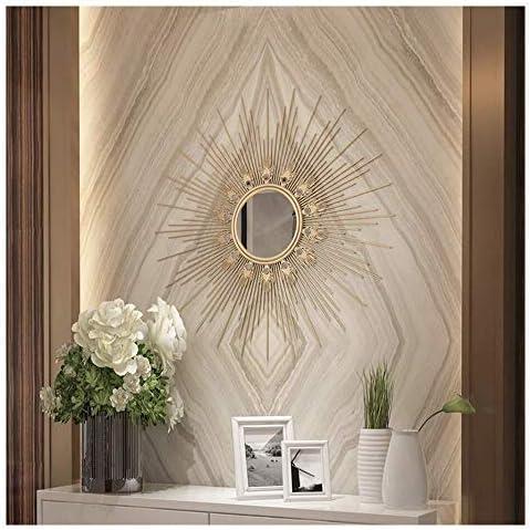 玄関飾り鏡 サンバーストウォールミラー、大きな丸いメタルスターバースト装飾壁鏡、ダイニングルーム、リビングルーム、廊下ポーチはミラーハンギング デスクトップ装飾鏡