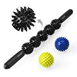 INTEY Muscle Roller Stick for Athletes, 21 Inches Massage Roller stick for Physical Therapy, Trigger Points, Myofascial Pain Syndrome, Back Pain, or Faster Recovery