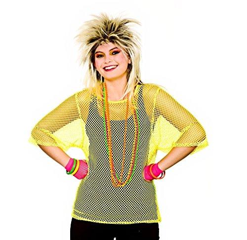 80 Fancy Dress (Adults 80's Rave Disco Hen Party Neon Mesh Top Fancy Dress Accessory- Neon Yellow)