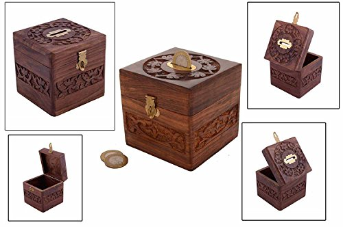 xmas present, Wooden Coins Storage Box, Money Bank & Carving Work & Lock, Kids Coin Bank, Money Banks For Kids / Adults / Girls, Brown Color Size 4.5 X 3 Inch