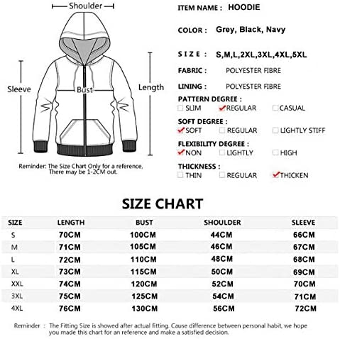 Xinxing Hommes Sweat à Capuche Volvo Imprimer Casual Zipper Manches Longues en Vrac Printemps Formation Drawstring Sport à Capuchon Outwear Grey-XXL