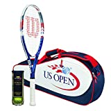 Wilson Sporting Goods US Open Tennis Racket Bag & Balls Package, Red/White/Blue