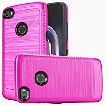 Alcatel Idol 5 / 6058 Case, Luckiefind Slim Brush Texture Hybrid Defender Armor Protective Case Cover with Stylus Pen & Screen Protector Accessory (Brush Pink)