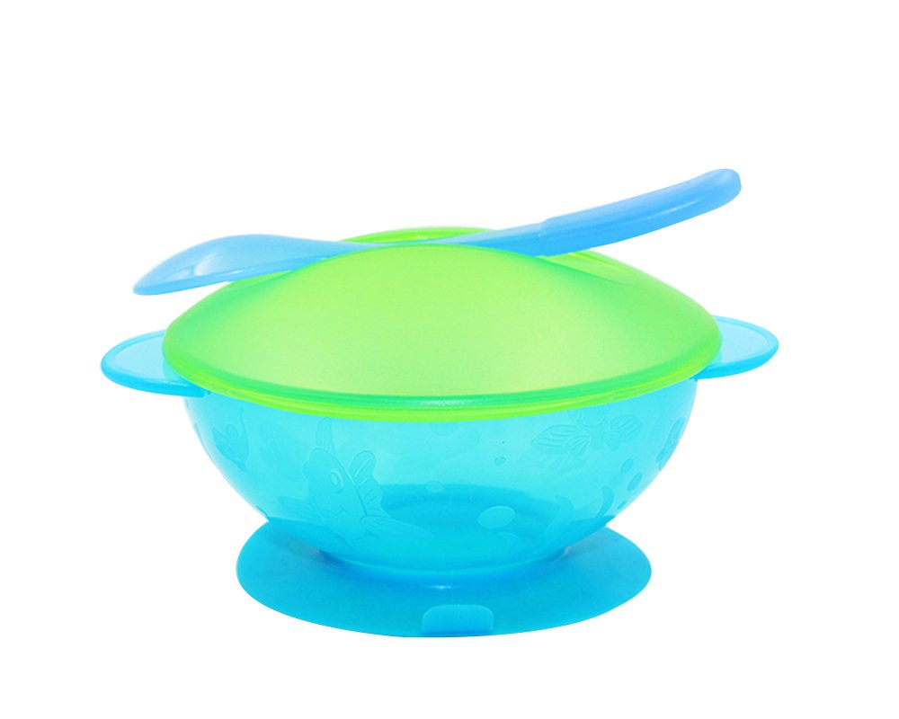 LLZJ Babies Tableware Dishes Suction Bowls Suction Stay Put Anti-Fall Training Children's Cutlery Toddler Feeding Spoon Training 3 Pieces
