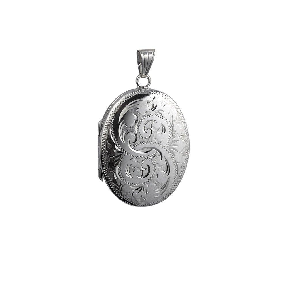 Mit Verriegelung Medaillon oval, 35 x 26 mm echt Silber, graviert, für 4 Fotos, für die Familie für 4 Fotos für die Familie British Jewellery Workshops FLFL49SPA