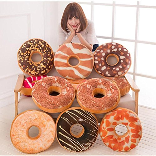 LtrottedJ Soft Plush Pillow Stuffed Seat Pad Sweet Donut Foods Cushion Cover ,Case Toys (C) Peach Coffee Grinder