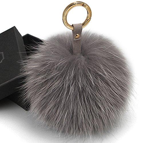 Pom Real Fur Pom (FURTALK Genuine Large Fox Fur Pompoms Mobile Strap Coppia Keychain Fox Fur Ball (grey))