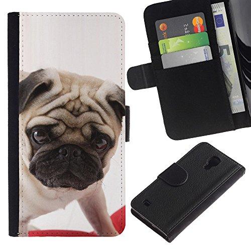 EuroCase - Samsung Galaxy S4 IV I9500 - pug British puppy dog breed canine - Cuero PU Delgado caso cubierta Shell Armor Funda Case Cover
