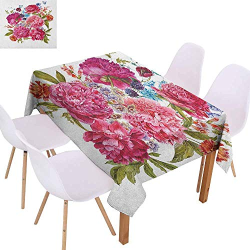 - Elegance Engineered Tablecloth Shabby Chic Gentle Summer Flora Hyacinths BlackBerry and Peonies Victorian Style Vegetation Picnic W59 xL71 Multicolor