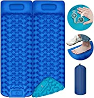 Sleeping Pad Camping Ultralight Self-Inflating Camping Pads and Mats Foot Press Inflatable Pad with Pillow for