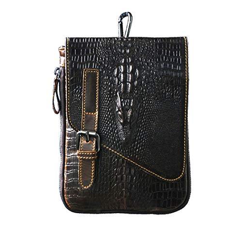 Le'aokuu Mens Genuine Leather Coffee Fanny Small Messenger Shoulder Satchel Waist Bag Pack (Large Size-Crocodile)