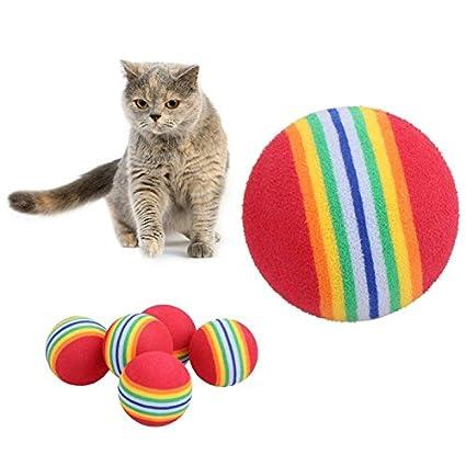 Longhui - 5 Pelotas de Espuma Suave para Mascotas, Perros, Gatos, arcoíris,