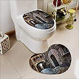 Printsonne 2 Piece Toilet mat set barri gothic quarter and bridge of sighs in barcelona catalonia spain 2 Piece Heart shaped foot pad set